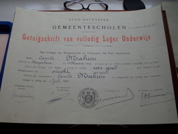GETUIGSCHIRFT Lager Onderwijs GEMEENTESCHOLEN Antwerpen 1931 > MAHIEU ( Zie Foto's ) ! - Diplômes & Bulletins Scolaires