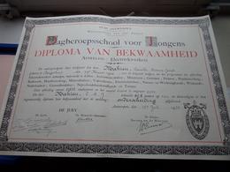 DIPLOMA Van BEKWAAMHEID ELECTRIEK Dagberoepsschool Voor Jongens Antwerpen 1935 > MAHIEU ( Zie Foto's ) ! - Diplômes & Bulletins Scolaires