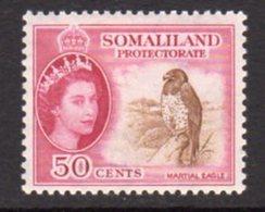 British Somaliland 1953-8 50c Martial Eagle Bird Value, MNH, SG 143 (BA) - Somaliland (Protectorate ...-1959)