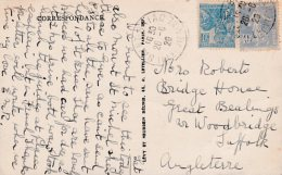 L4C261 France 1926 CP Saint Briac Ille & Vilaine Pour Woodbridge Angleterre  Affr:  40c Semeuse  50c Jeanne D'Arc 26 - Covers & Documents