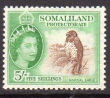 British Somaliland 1953-8 5/- Martial Eagle Bird Value, MNH, SG 147 (BA) - Somaliland (Protectorate ...-1959)