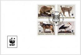 LIECHTENSTEIN 2017 FDC WWF Returnees Wolf Stork Beaver Lynx Loup Cigogne Castor Lynx - Roofkatten