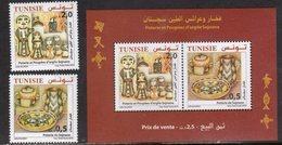 TUNISIA , 2018, MNH, POTTERY AND DOLLS, CATS, BIRDS, FISH,2v+S/SHEET - Cultures