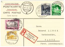 1939 Eingeschriebene Antwortkarte Aus Danzig Nach Vaduz Mit Marken Aus Danzig Und Liechtenstein - Entiers Postaux