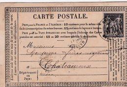 L4C498 Carte Précurseur St Gaultier Indre Pour Chateauroux N° 89  Voyage Juin 1878 - Entiers Postaux