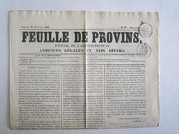 77 Seine Et Marne Provins Journal La Feuille De Provins 25 Février 1860 Charles Lucquin - Newspapers