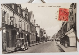 ETAMPES (91) La Rue Saint Jacques. Automobiles. Hotel Restaurant Culerier - Etampes