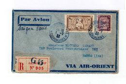 Enveloppe Par Avion. Via Air Orient. Deux Timbres 5 C. Lilas Et 50 C. Sépia Oblitérés Cochinchine 1933. (675) - Poste Aérienne