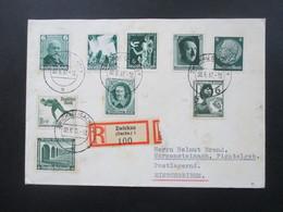 3.Reich 1937 Einschreiben Zwickau (Sachs) 1 Frankiert Mit 9 Grünen Marken!! Postlagernd. Toller Farben Beleg!! - Cartas