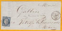 1851 - 25 C Bleu Cérès YT N° 4 - Sur Lettre De Vincennes Vers Vitry Le François - Belles Marques - Cad Arrivée - 1849-1850 Cérès