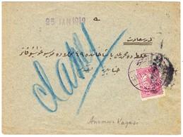 1910 Brief Aus Anamur Nach Constantinople Mit 20pa Marke; Lila Stempel: Anamur; Rückseitig Stempel Bayindir, Sehr Selten - 1858-1921 Ottoman Empire