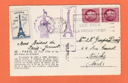 CARTE SOUVENIR DE LA TOUR EIFFEL AVEC VIGNETTE CACHETS DIVERS DE 1947 - Other