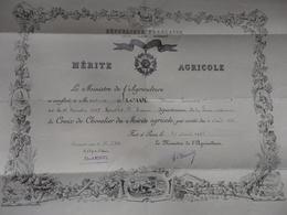 Mérite Agricole Décerné Par Le Ministre à Mr Siour Henri Fernand Né Le 13/12/1887 à Gruchet St Siméon 76. - Diplomi E Pagelle