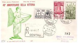 Fdc AICFDC: 40° VITTORIA (1958); Raccomandata Sena Arrivo; AF_Firenze - F.D.C.