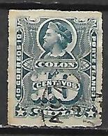 CHILI    -    1877 .  Y&T N° 19 Oblitéré .   Christophe Colomb. - Chile