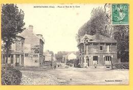 """Carte Postale En Noir Et Blanc """"  Place Et Rue De La Gare """" à MONTATAIRE - Montataire"""