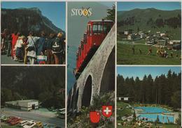 Stoos - Blick Auf Fronalpstock, Dorfpartie, Talstation Schlattli, Schwimmbad - Photoglob - SZ Schwyz