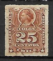 CHILI    -    1878 .  Y&T N° 28 Oblitéré .   Christophe Colomb. - Chile