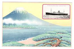 """JAPON - MONT FUJI - Carte Illustrateur - M. S. """"RIO DE JANEIRO MARU"""" - Giappone"""