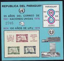 "PARAGUAY 1976: CENTENARIO UPU & 25 Anos UN Michel 2842 Block 283 ** MNH ""Reproduction UN-Day Block 1955"" - U.P.U."