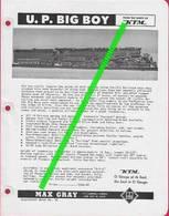 Catalogue MAX GRAY Supplement Sheet No 12 May 1959 KTM UP Big Boy Gauge O - Books And Magazines