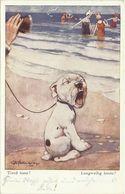 "AK Hund Bonzo Am Strand ""Langweilig Heute?""/Tired Time?"" Ernest Studdy 1928 # - Hunde"