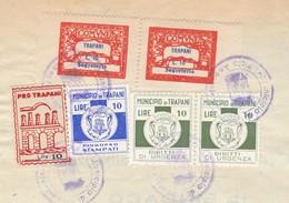 Trapani. 1957. Marche Municipali Segreteria + Urgenza + Stampati + Erinofilo Municipale, Al Verso Di Certificato - Italie