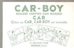Buvard CAR-BOY Réglise Chewing-Gum Boisson La Réglisserie  CAR à MOUSSAC Dans Le Gard - Cake & Candy