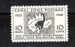 Panama Canal Zone - 1948. Coati Su Carta Geografica. Raccoons Family On Map. MNH - Roditori