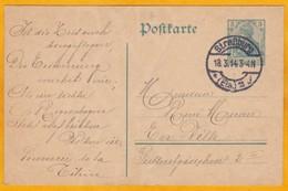 1914 - Entier Postal CP 5 Pf Vert De Strasbourg, France Occupée En Ville - Au Verso Dessins Et Vers - Marcophilie (Lettres)