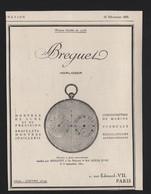 Pub Papier 1925 MONTRE Horlogerie Breguet Chronometre Montres Louis XVIII Suisse - Advertising