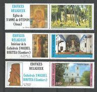 """Polynésie YT 243 à 245 Avec Vignette """" Edifices Religieux """" 1985 Neuf** - French Polynesia"""