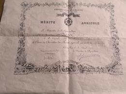 RF  CROIX DU CHEVALIER DU  MERITE AGRICOLE  FAIT à PARIS 1915 - Diplomi E Pagelle