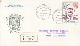 D8261- GENERAL CHARLES DE GAULLE DEATH ANNIVERSARY, REGISTERED SPECIAL COVER, OBLIT FDC, 1980, FRANCE-T.A.A.F. - De Gaulle (General)