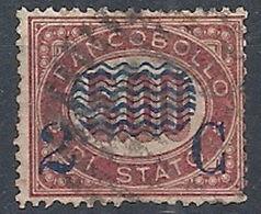 1878 REGNO USATO SOPRASTAMPATO 2 CENT SU 5 LIRE - RR12980 - 1861-78 Vittorio Emanuele II