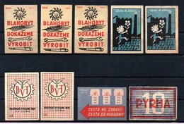 Czechoslovakia Matchbox Labels, 1946./1947./1948., 9 Pcs - Matchbox Labels