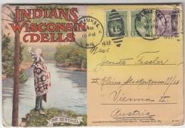 (12 Scan) INDIANS OF WISCONSIN DELLS - Ansichtskarten Mappe Mit 18 Ansichten, 3 Fach Frank.,  Gel.1932 V.WILWAUKEE ... - America