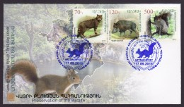 Armenien/Armenie/Armenia/Artsakh/Karabakh 2018, Flora Fauna Wildlife, Wildcat Wild Boar Squirrel, Map Lake - FDC - Armenia