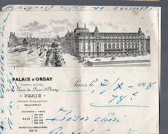Paris Lettre à Entête GRAND HOTEL DU PALAIS D'ORSAY 1918 (PPP14976) - Unclassified