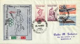 GIOCHI DELLA XVII OLIMPIADE VELODROMO OLIMPICO ROMA 26.8.1960 FDC - CATALOGO SASSONE NUMERO 886/889/891/892 - Ciclismo