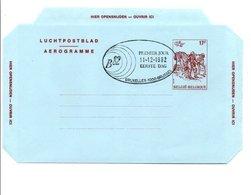 BELGIQUE AEROGRAMME 1 ER JOUR 17 F 1982 - Stamped Stationery