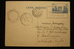 Entier CP 80c Arc Triomphe Cachet Chambre Commerce Beauvais (voir Texte Au Dos ) 14/7/1940 Vers Aumagne Charente - Postmark Collection (Covers)