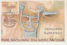 Carte Maximum  1er   Jour    MONACO    Parc  Du  Mercantour   Gravures  Rupestres    1989 - Préhistoire