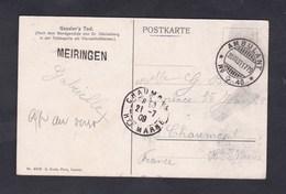 Suisse Cachet Ambulant N° 40 20 Juillet 1909 Griffe Meiringensur CPA Gessler's Tod Vers Chaumont Haute Marne - Postmark Collection