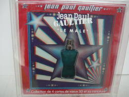 """GAULTIER """" LE MALE"""" COLLECTION  4 CARTES DE VOEUX  3 D AVEC ENVELOPPES & LUNETTES  """" + MINI  VOIR ET LIRE !! - Modern Miniatures (from 1961)"""