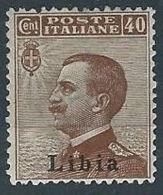 1912-15 LIBIA EFFIGIE 40 CENT MH * - RR13788 - Libya