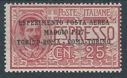 1917 REGNO POSTA AEREA ROMA TORINO MH * - RR12890-3 - Airmail