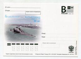 """2013 RUSSIA POSTCARD """"B"""" DIESEL SUBMARINE C-142 - Submarines"""