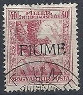 1918-19 FIUME USATO SOPRASTAMPATI FIUME 40+2 F V TIPO - RR11930 - 8. Occupazione 1a Guerra