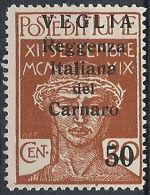 1920 VEGLIA REGGENZA DEL CARNARO 50 SU 20 CENT II TIPO MH * - RR12202 - Arbe & Veglia